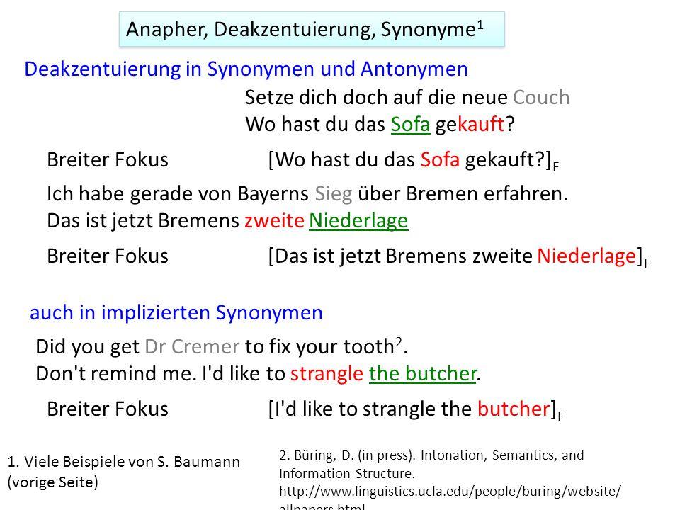 Anapher, Deakzentuierung, Synonyme1