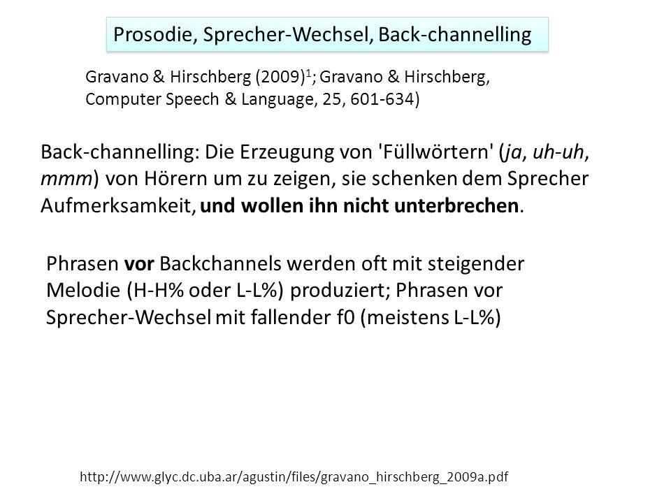 Prosodie, Sprecher-Wechsel, Back-channelling