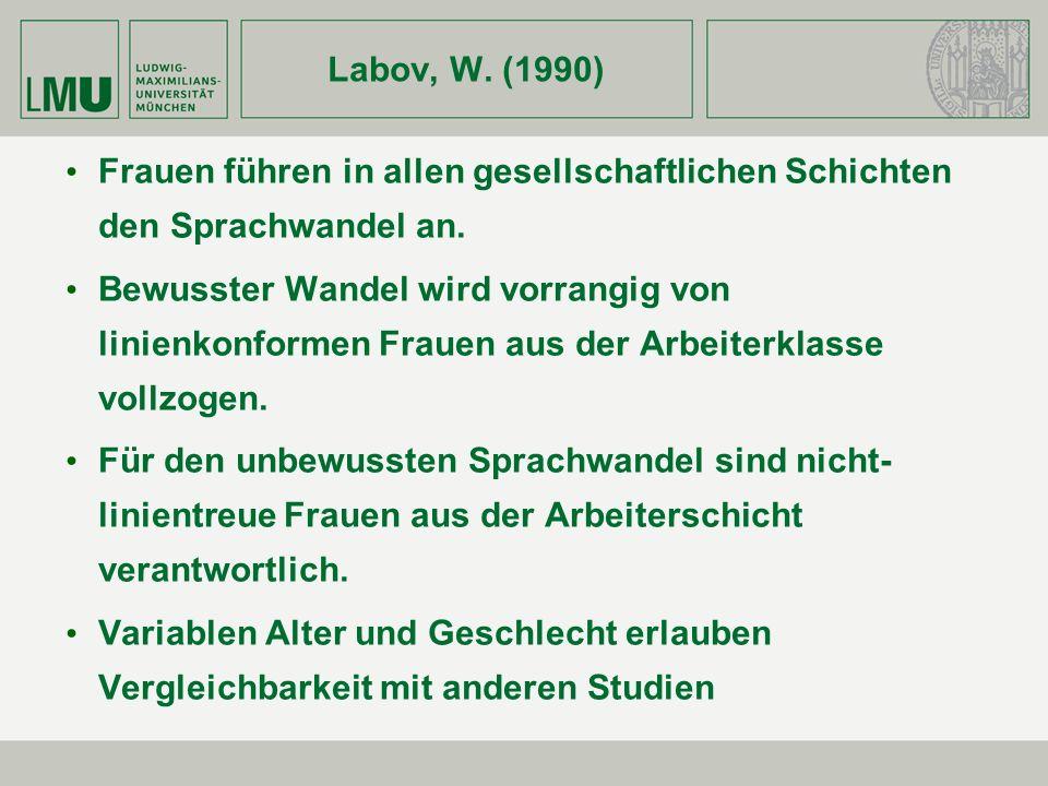 Labov, W. (1990) Frauen führen in allen gesellschaftlichen Schichten den Sprachwandel an.