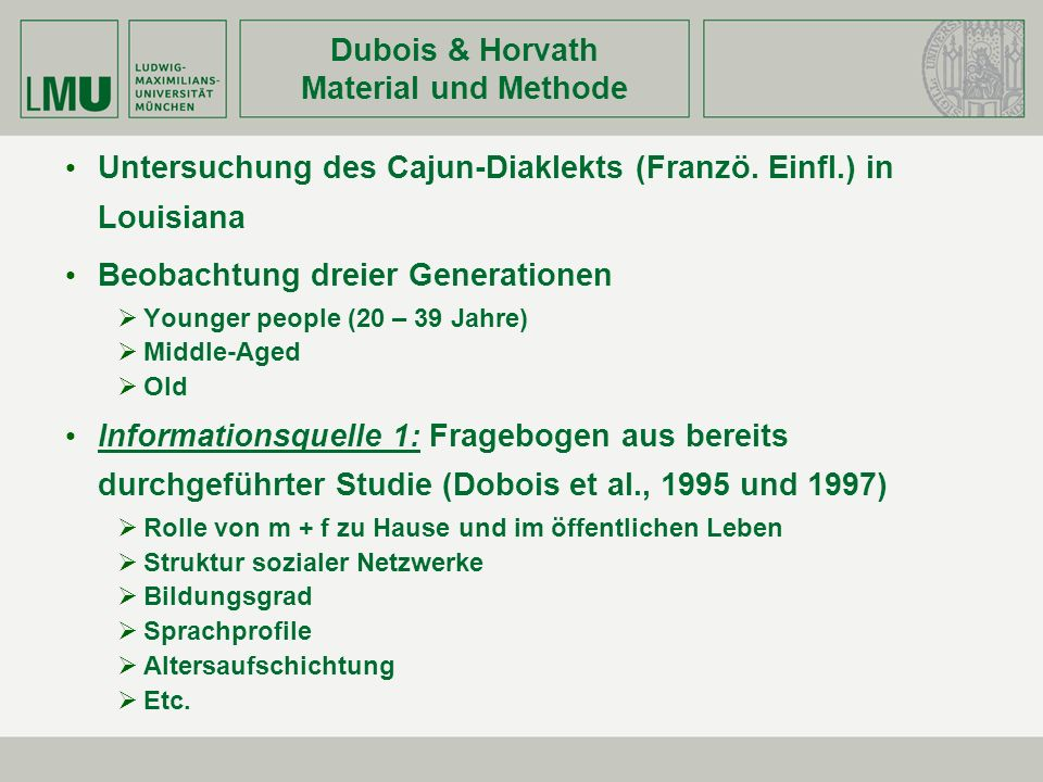 Dubois & Horvath Material und Methode