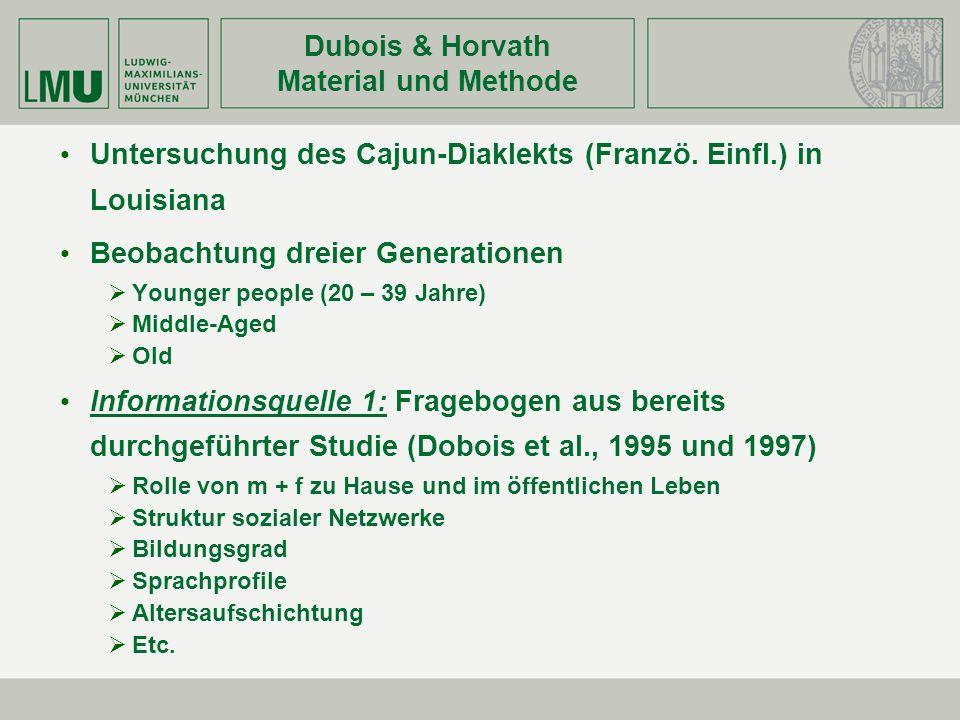Dubois & Horvath Material und Methode