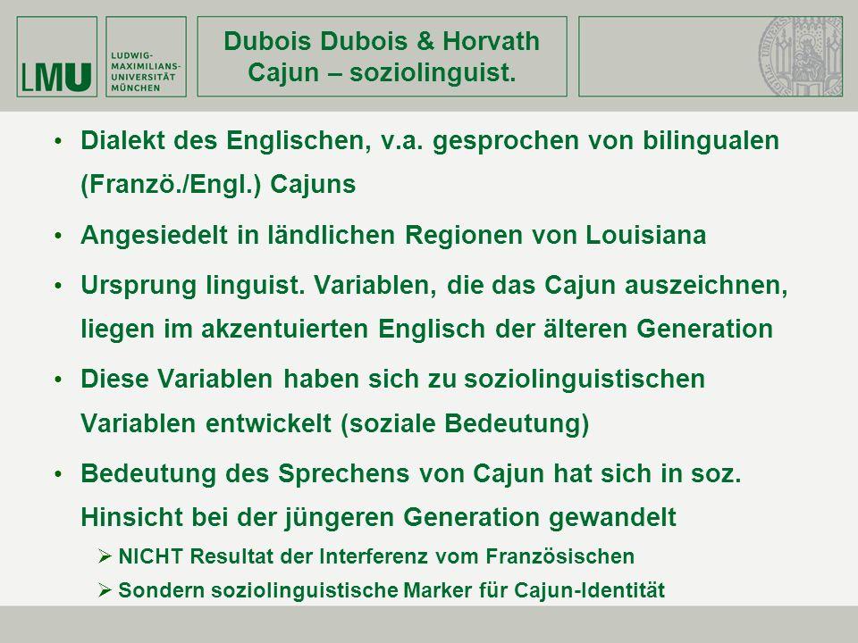 Dubois Dubois & Horvath Cajun – soziolinguist.