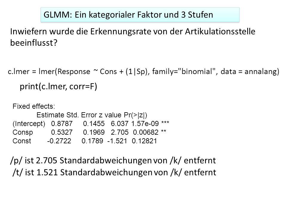 GLMM: Ein kategorialer Faktor und 3 Stufen