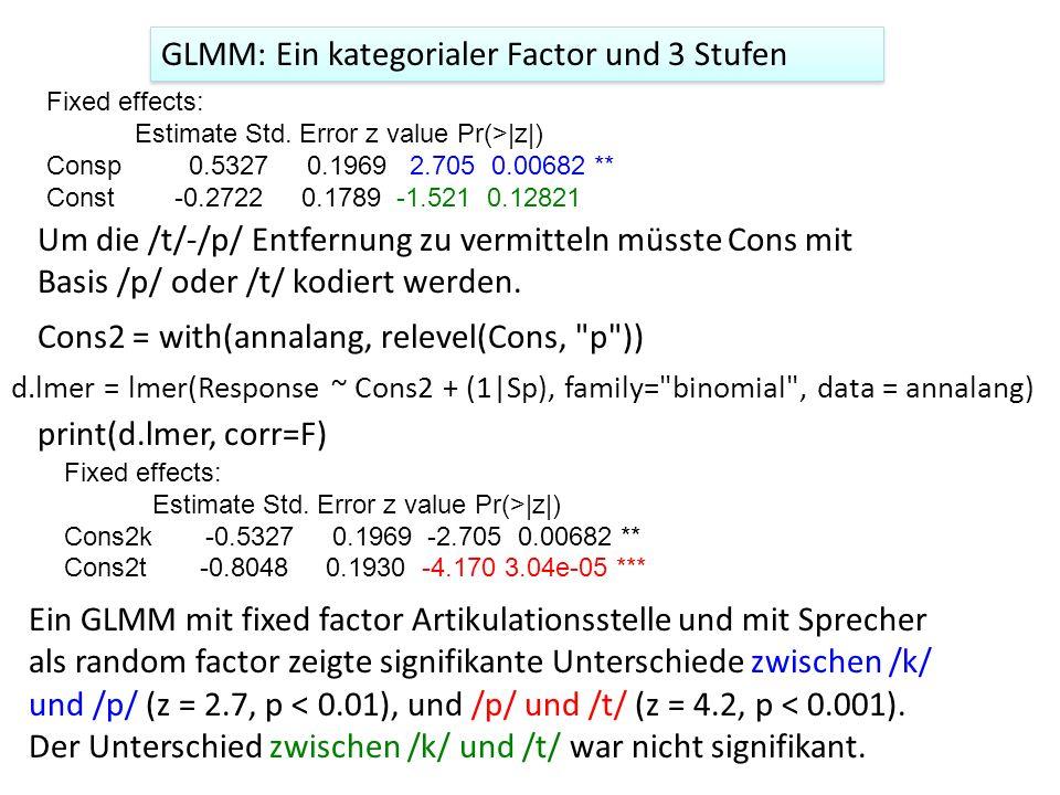 GLMM: Ein kategorialer Factor und 3 Stufen
