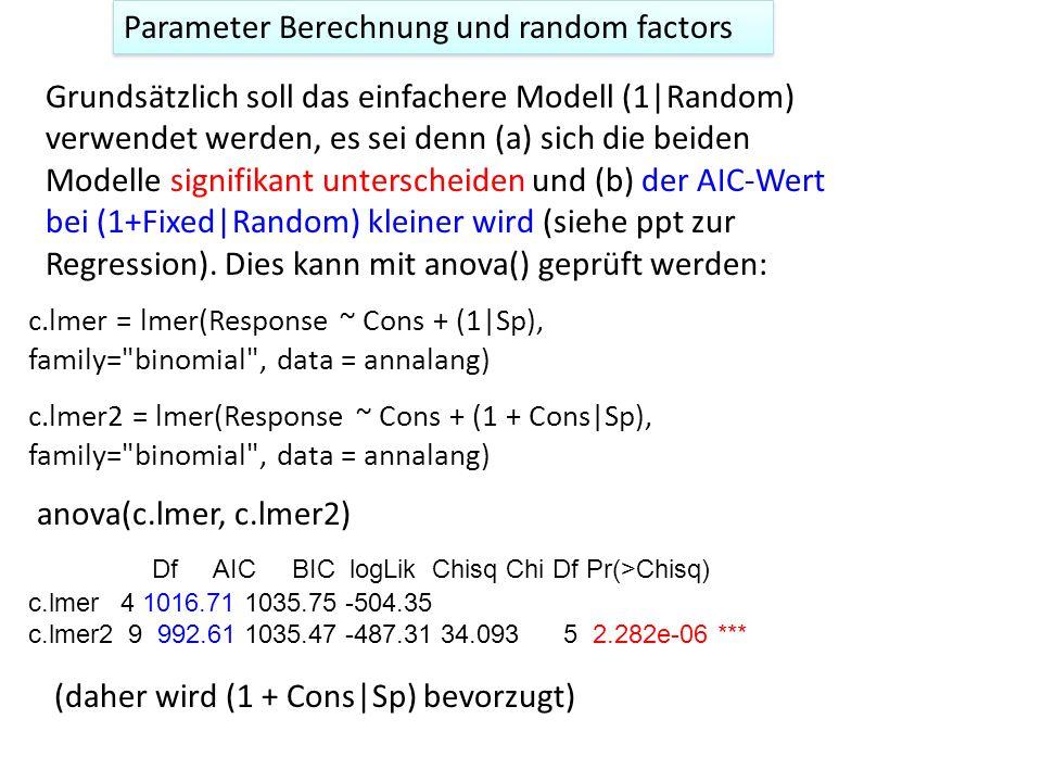 Parameter Berechnung und random factors