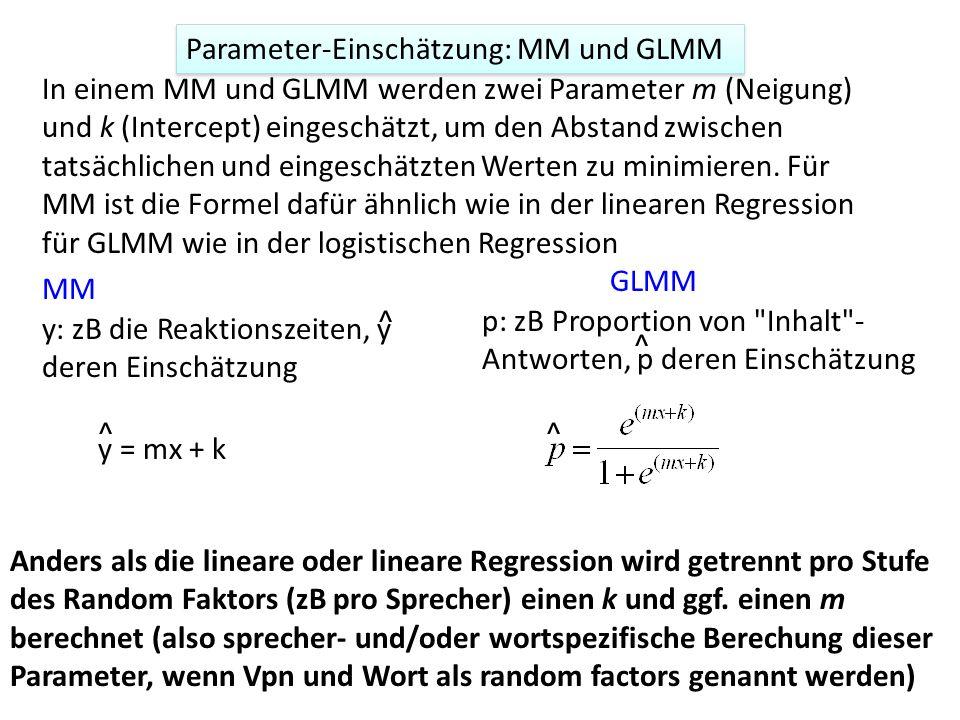 Parameter-Einschätzung: MM und GLMM