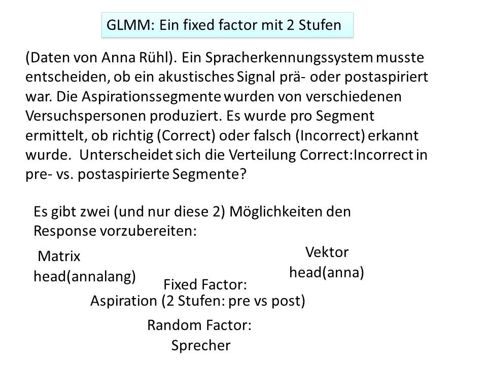 GLMM: Ein fixed factor mit 2 Stufen