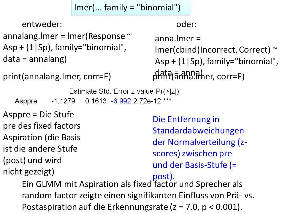 lmer(... family = binomial )