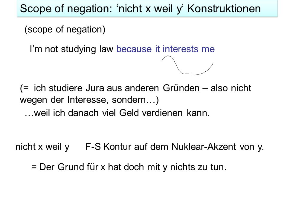 Scope of negation: 'nicht x weil y' Konstruktionen