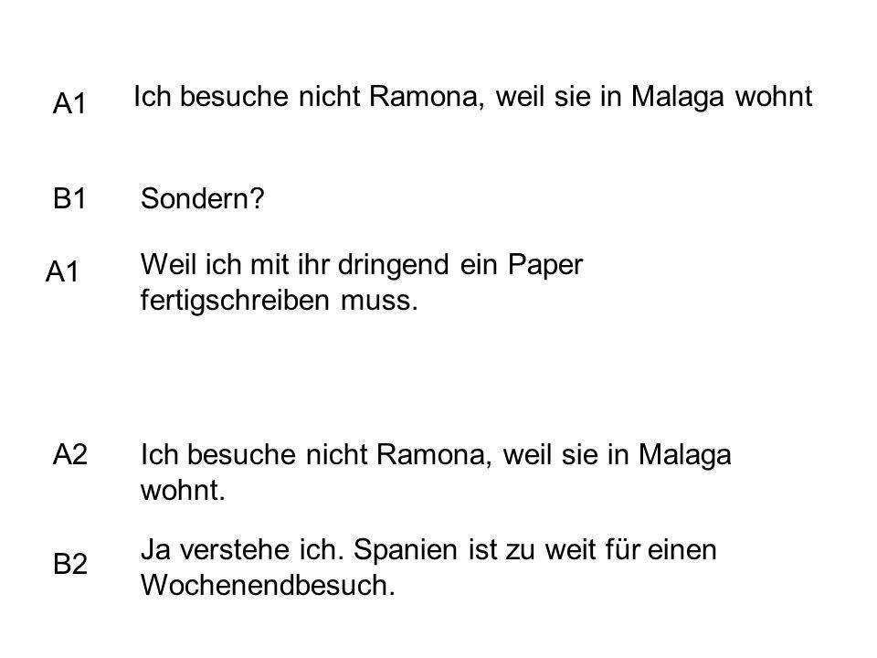 Ich besuche nicht Ramona, weil sie in Malaga wohnt