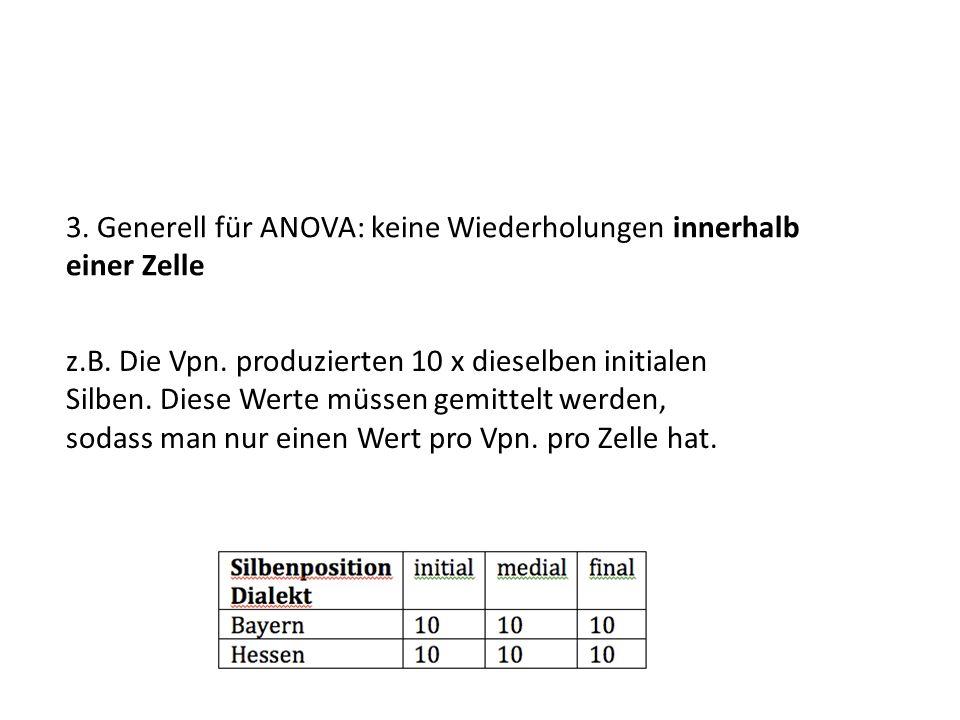 3. Generell für ANOVA: keine Wiederholungen innerhalb einer Zelle