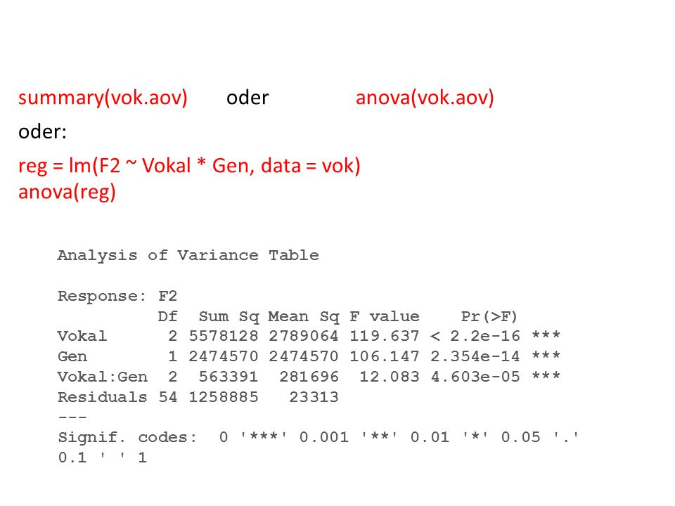 reg = lm(F2 ~ Vokal * Gen, data = vok) anova(reg)