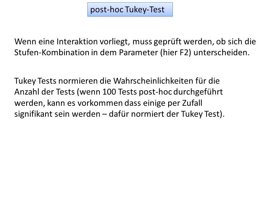 post-hoc Tukey-Test Wenn eine Interaktion vorliegt, muss geprüft werden, ob sich die Stufen-Kombination in dem Parameter (hier F2) unterscheiden.