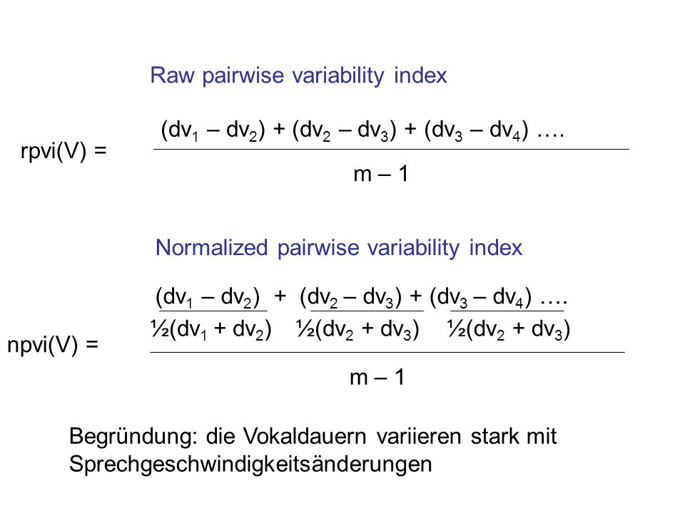 Raw pairwise variability index