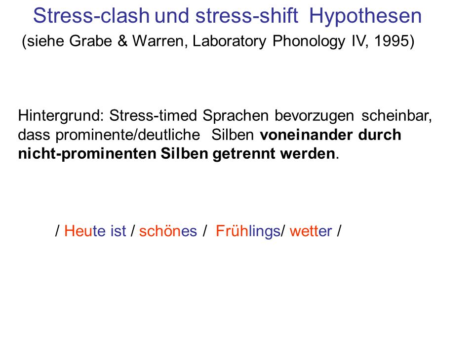 Stress-clash und stress-shift Hypothesen