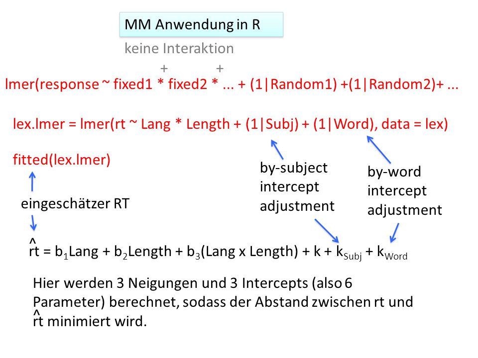 MM Anwendung in R keine Interaktion. + + lmer(response ~ fixed1 * fixed2 * ... + (1|Random1) +(1|Random2)+ ...