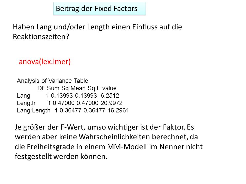 Beitrag der Fixed Factors
