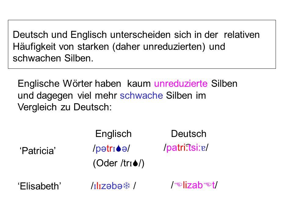 Deutsch und Englisch unterscheiden sich in der relativen Häufigkeit von starken (daher unreduzierten) und schwachen Silben.