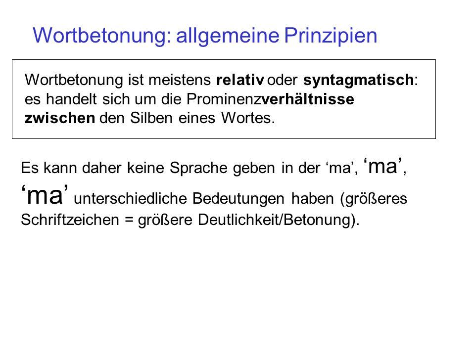 Wortbetonung: allgemeine Prinzipien