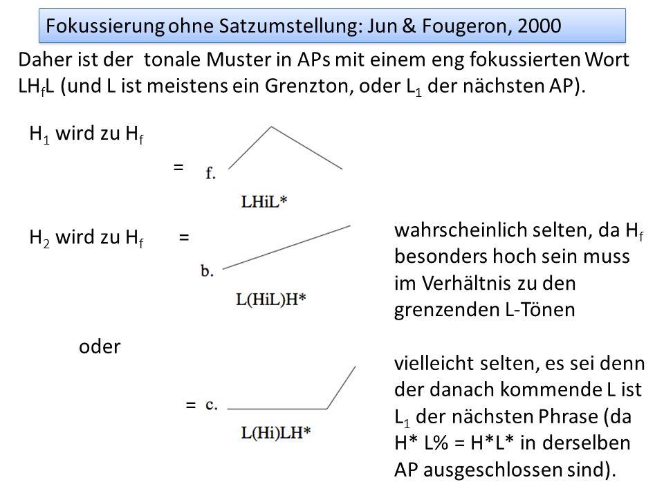 Fokussierung ohne Satzumstellung: Jun & Fougeron, 2000