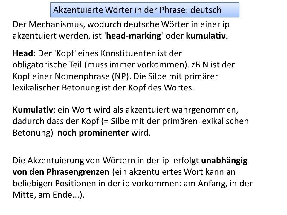 Akzentuierte Wörter in der Phrase: deutsch