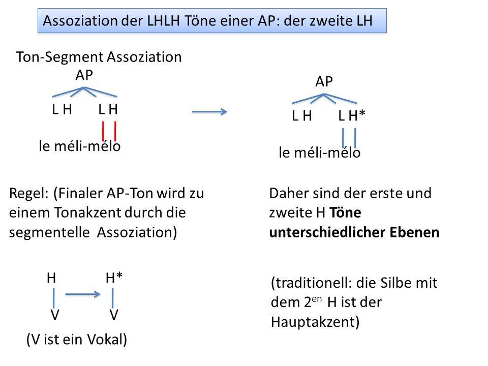 Assoziation der LHLH Töne einer AP: der zweite LH