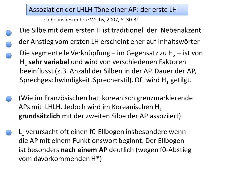 Assoziation der LHLH Töne einer AP: der erste LH