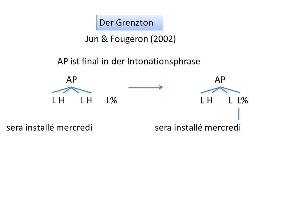 Der Grenzton Jun & Fougeron (2002) AP ist final in der Intonationsphrase. AP. sera installé mercredi.