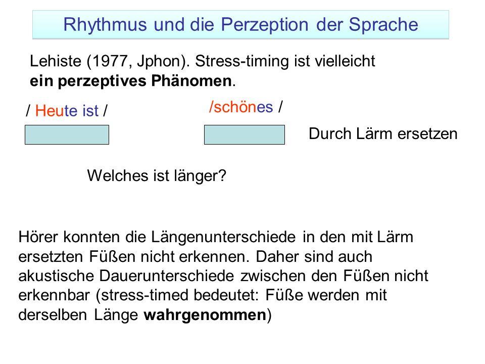 Rhythmus und die Perzeption der Sprache
