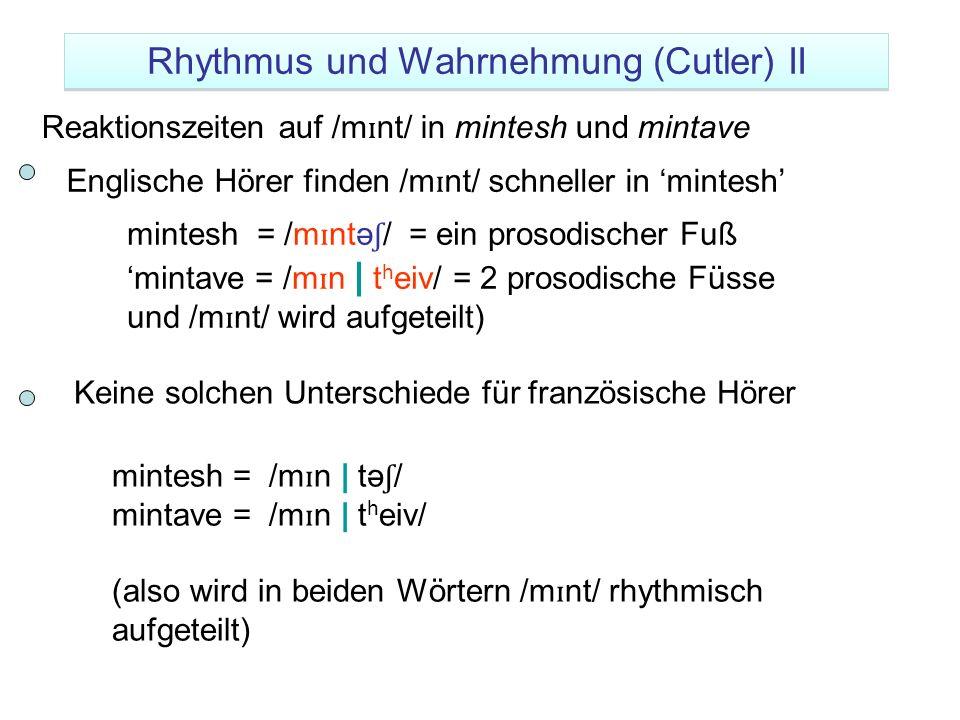 Rhythmus und Wahrnehmung (Cutler) II