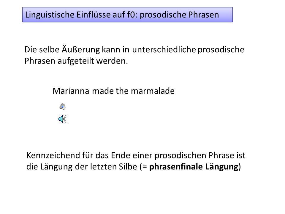 Linguistische Einflüsse auf f0: prosodische Phrasen