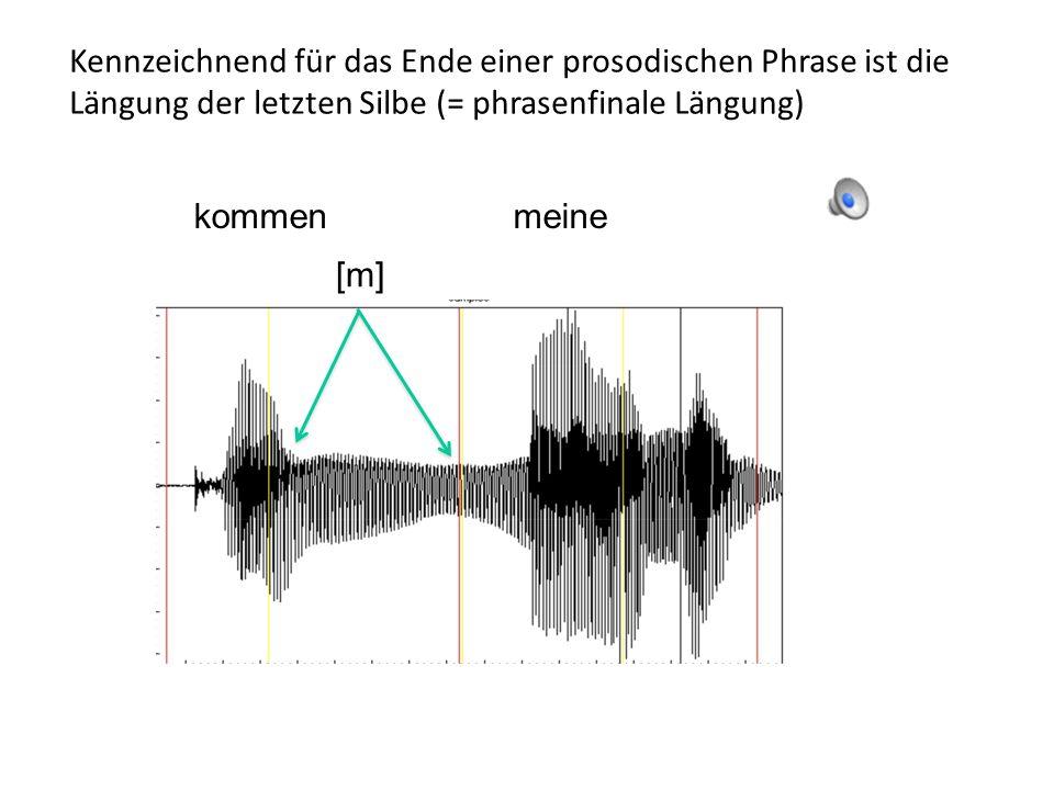 Kennzeichnend für das Ende einer prosodischen Phrase ist die Längung der letzten Silbe (= phrasenfinale Längung)