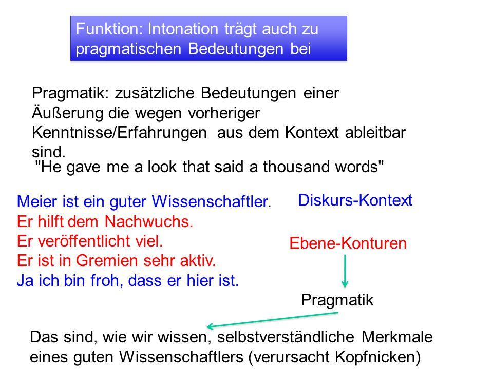 Funktion: Intonation trägt auch zu pragmatischen Bedeutungen bei