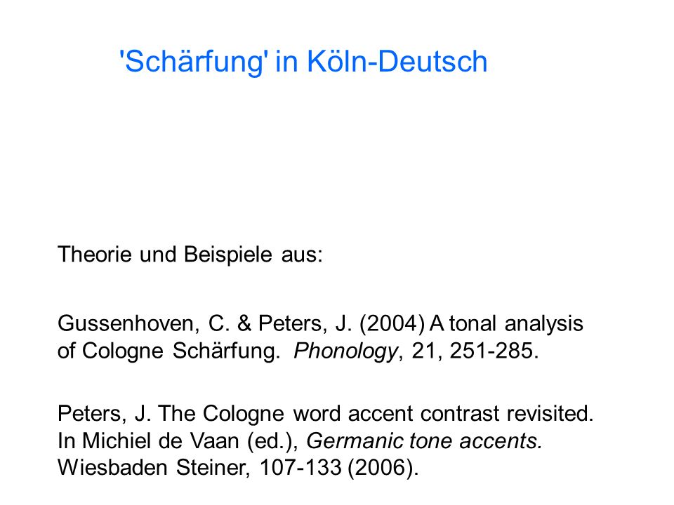 Schärfung in Köln-Deutsch