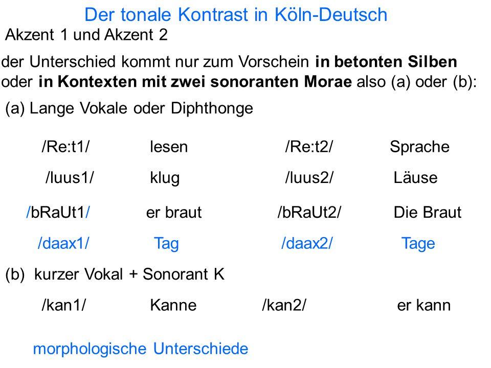 Der tonale Kontrast in Köln-Deutsch