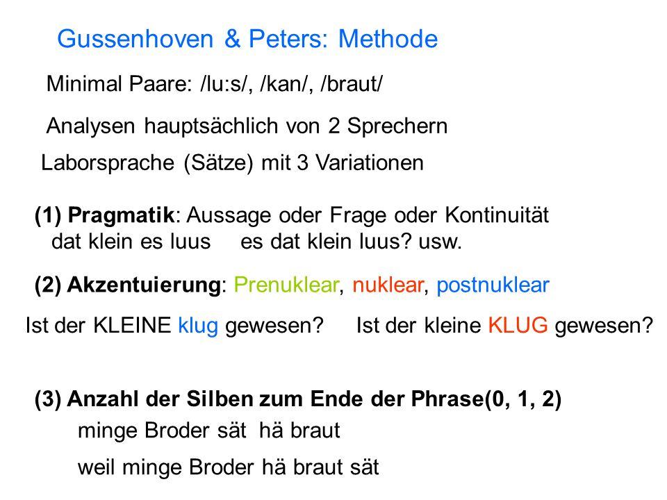 Gussenhoven & Peters: Methode