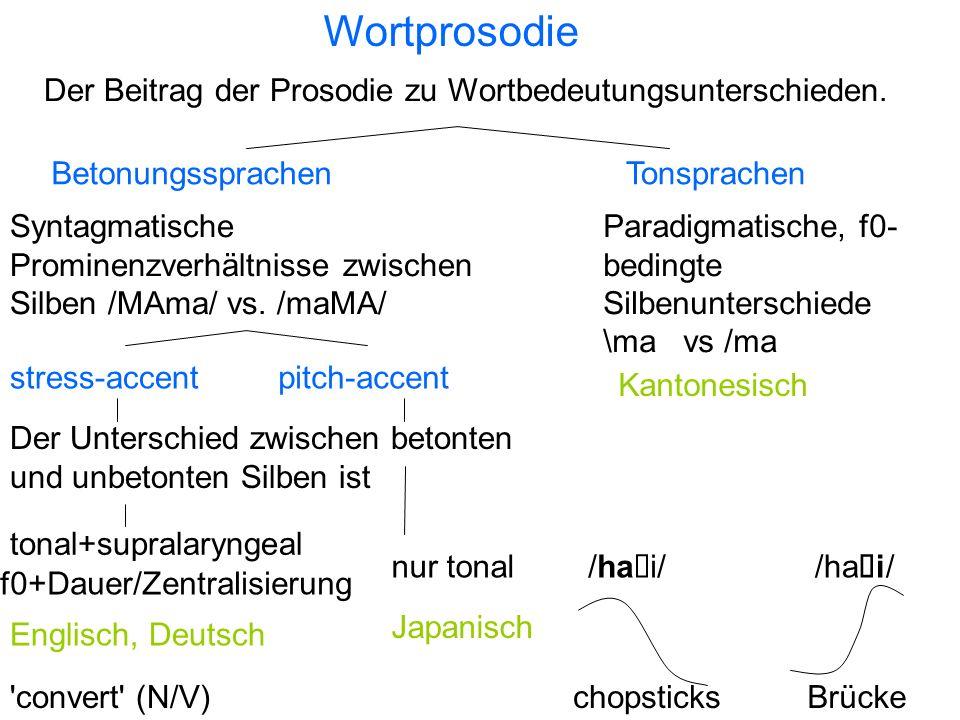 Wortprosodie Der Beitrag der Prosodie zu Wortbedeutungsunterschieden.