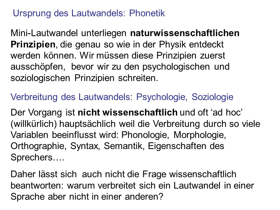Ursprung des Lautwandels: Phonetik