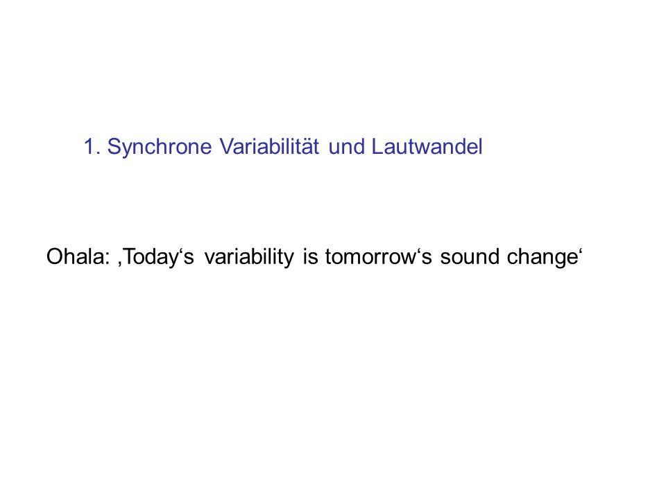 1. Synchrone Variabilität und Lautwandel