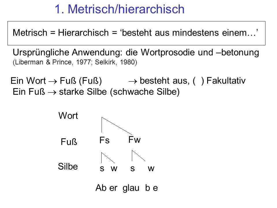 1. Metrisch/hierarchisch