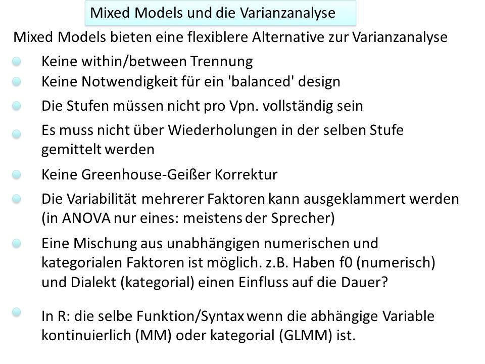 Mixed Models und die Varianzanalyse