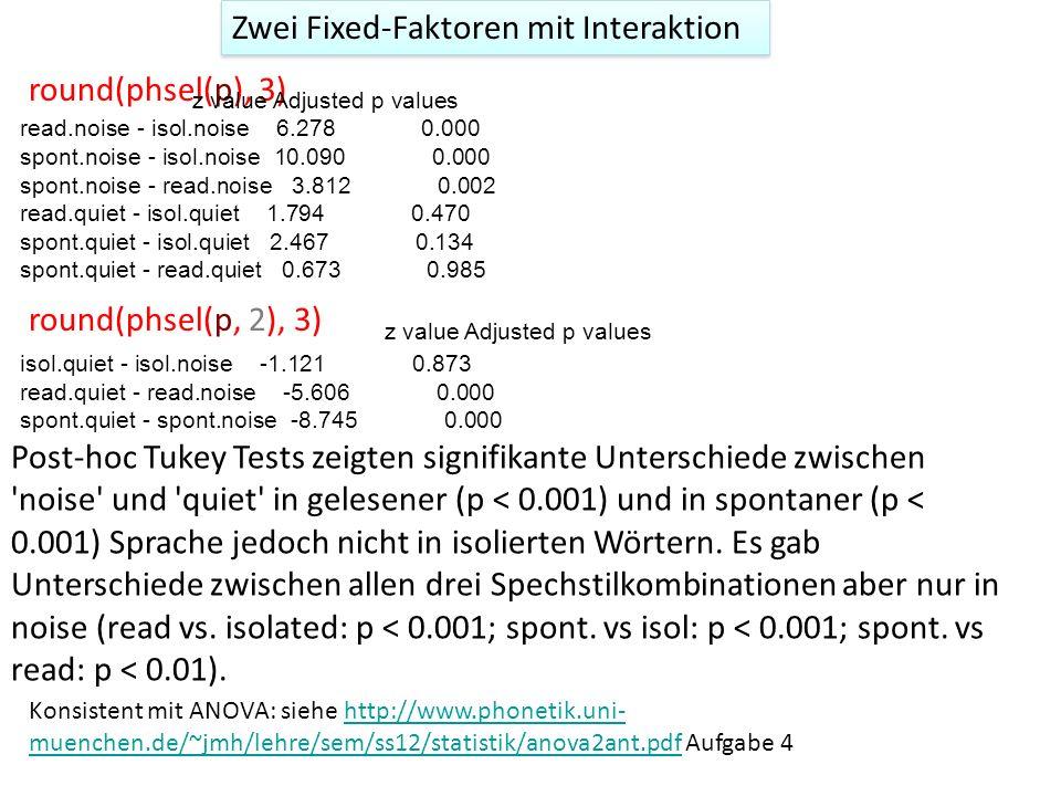 Zwei Fixed-Faktoren mit Interaktion