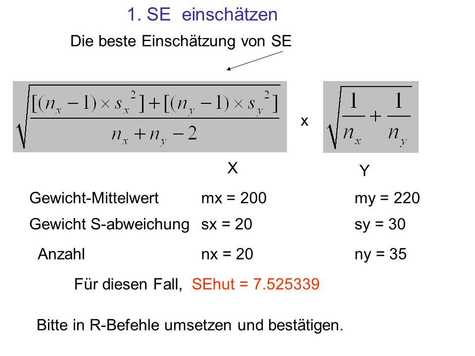 1. SE einschätzen Die beste Einschätzung von SE x Gewicht-Mittelwert