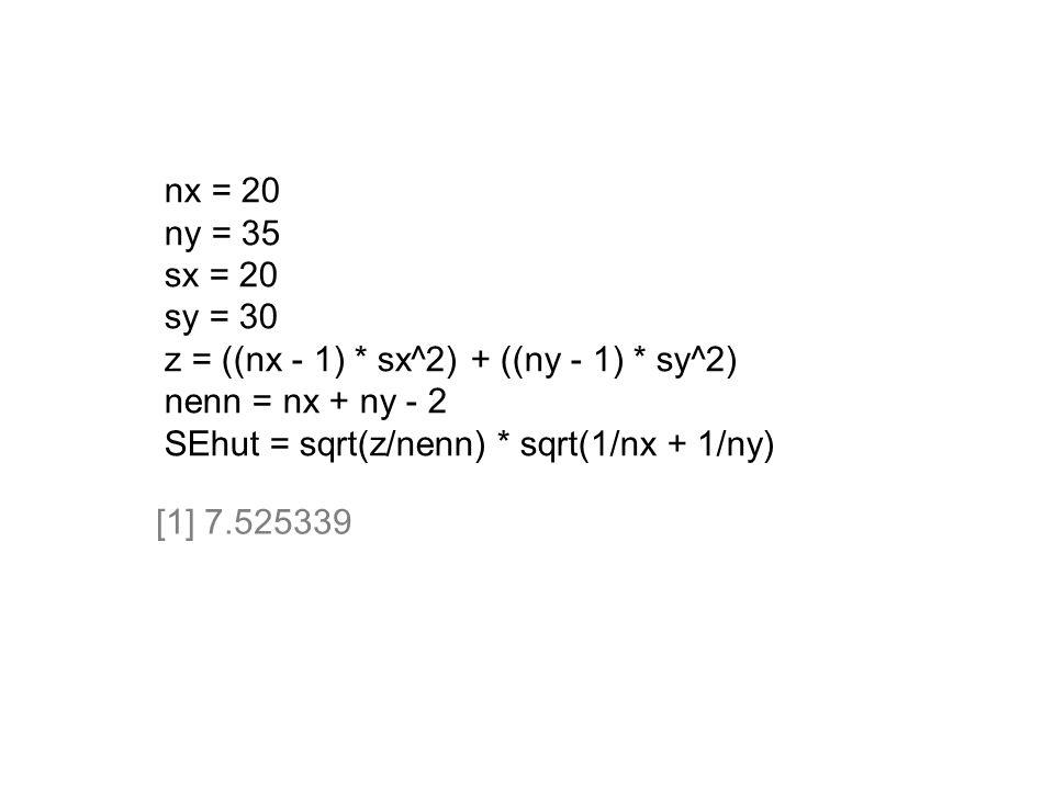 nx = 20 ny = 35. sx = 20. sy = 30. z = ((nx - 1) * sx^2) + ((ny - 1) * sy^2) nenn = nx + ny - 2.