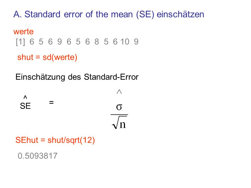 A. Standard error of the mean (SE) einschätzen