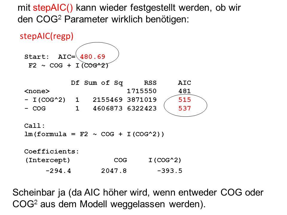 mit stepAIC() kann wieder festgestellt werden, ob wir den COG2 Parameter wirklich benötigen: