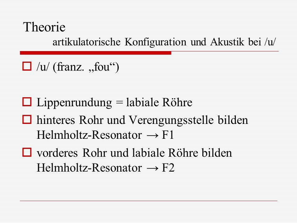 Theorie artikulatorische Konfiguration und Akustik bei /u/