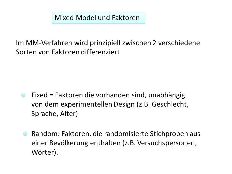 Mixed Model und Faktoren