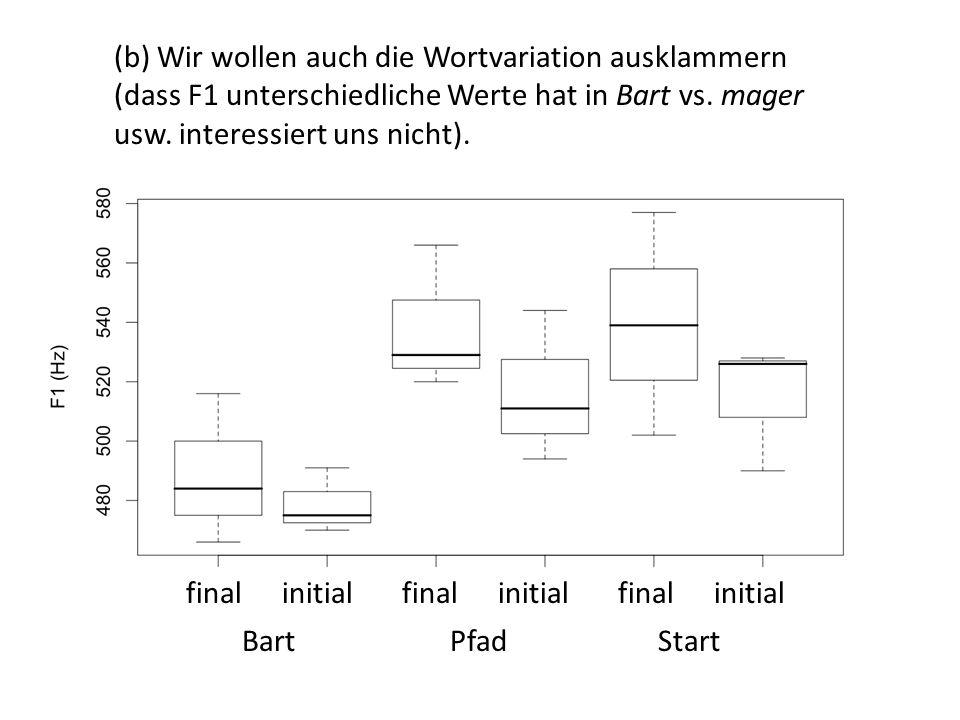 (b) Wir wollen auch die Wortvariation ausklammern (dass F1 unterschiedliche Werte hat in Bart vs. mager usw. interessiert uns nicht).