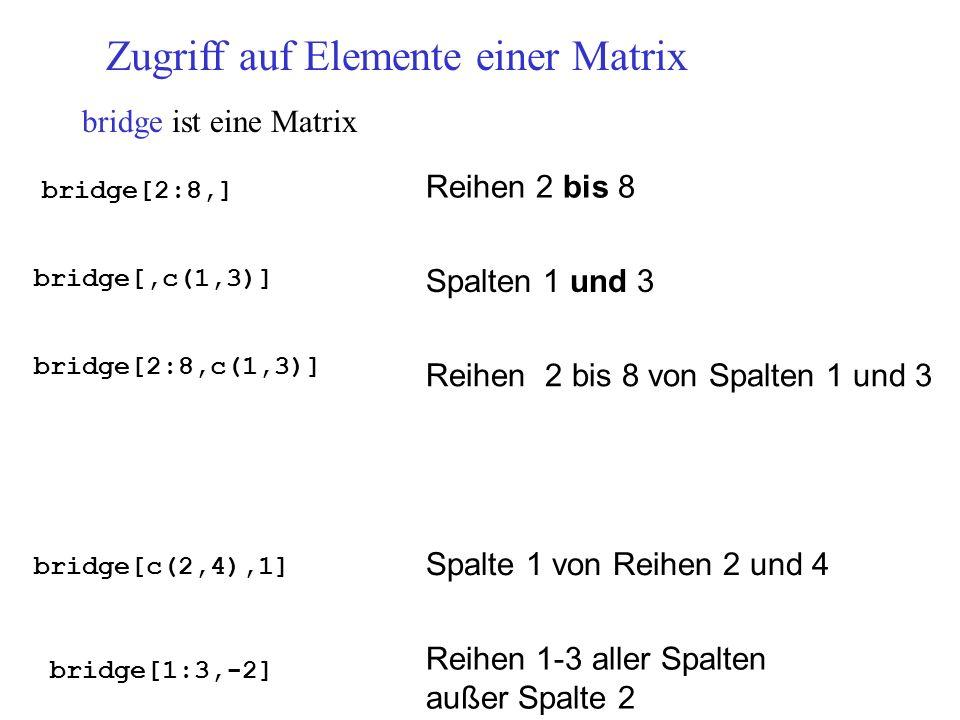 Zugriff auf Elemente einer Matrix